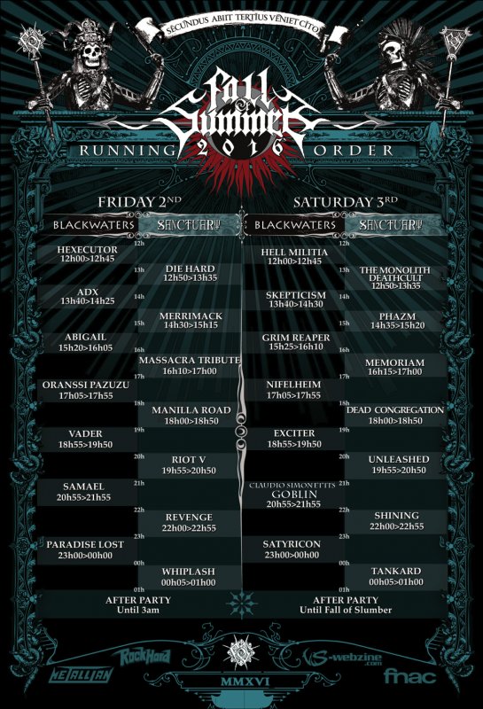 Fall Of Summer - running order