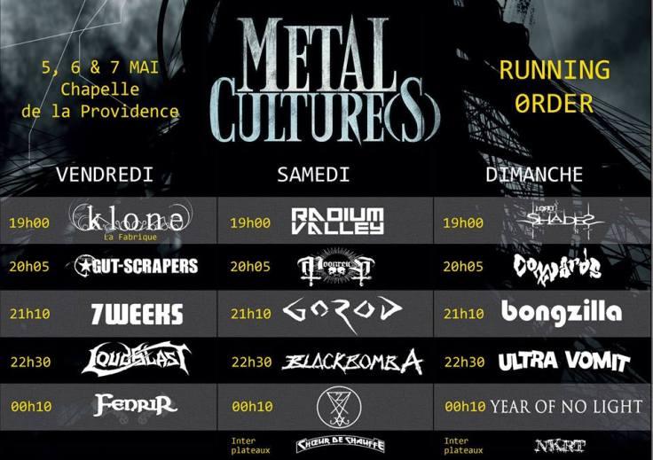 Metal Culture(s) - running order