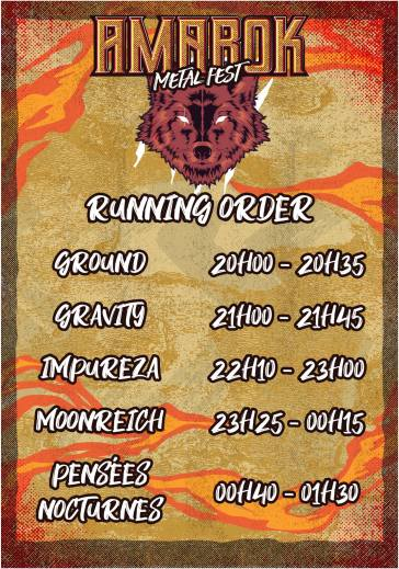 Amarok Metal Fest 2019 - running order vendredi