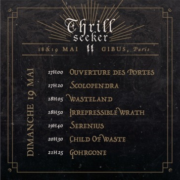 Thrill Seeker Metal Fest - running order dimanche