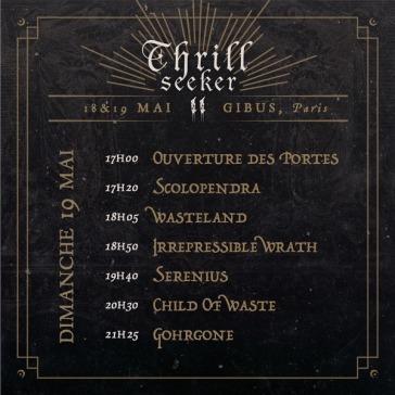 Thrill Seeker Metal Fest - running order dimanche
