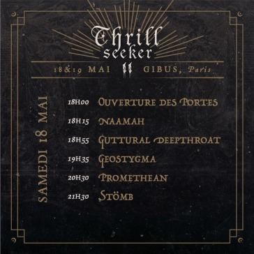 Thrill Seeker Metal Fest - running order samedi