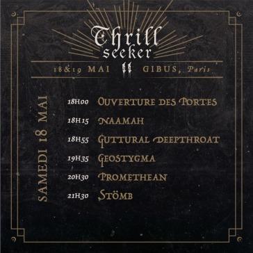 Thrill Seeker Metal Fest - running order samedi