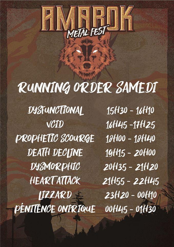 Amarok Metal Fest - running order samedi
